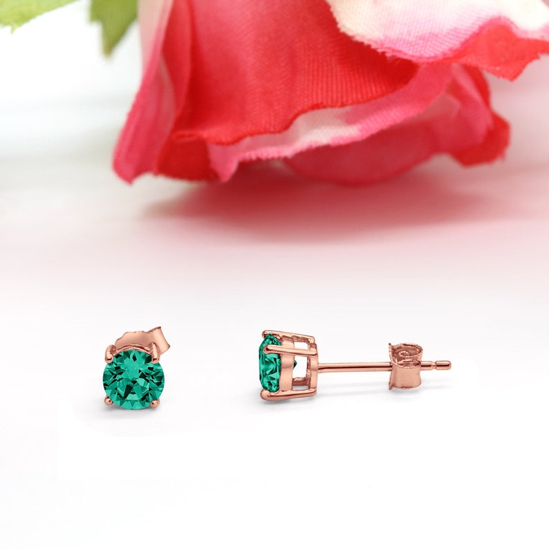 3mm-10mm Round Rose Gold Solid 925 Sterling Silver Solitaire Stud Post Earrings Round Emerald Green CZ May Stone