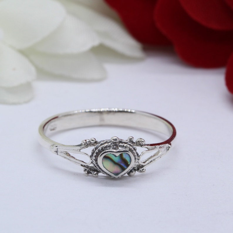 5mm Petite Dainty Heart Rainbow Abalone Ring Solid 925 Sterling Silver  Solitaire, Promise Ring, Heart Ring, Love Ring, Gift