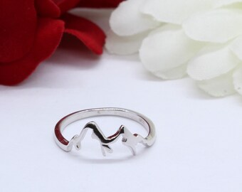 Mountain Band Ring Solid 925 Sterling Silver Mountain Fashion Ring Mountain Minimalist Trendy Petite Dainty