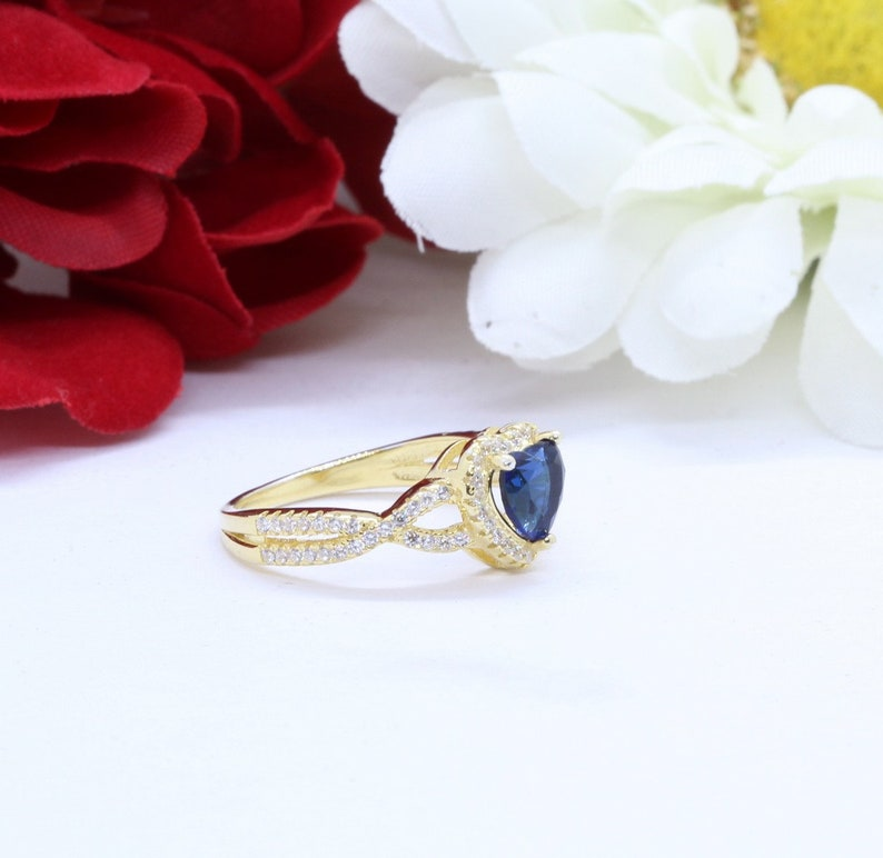 Heart Promise Ring Infinity Heart Twisted Shank Deep Blue Sapphire Round Simulated Diamond 14K Yellow Gold Solid 925 Sterling Silver