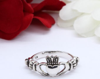 Oxidized Finish Celtic Claddagh Ring 925 Sterling Silver Claddagh Promise Ring Claddagh Band Celtic