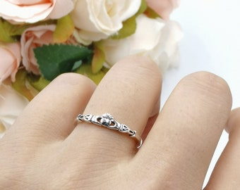 4mm  Celtic Petite Dainty Oxidized Celtic Claddagh Ring 925 Sterling Silver Claddagh Promise Ring Claddagh Band Thumb Ring Gift