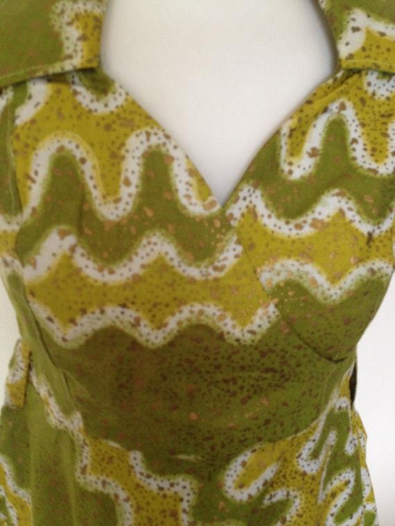 Doris Day 1950s Handmade Tie Dye Rockabilly Swing Vibrant Eclectic Dress UK 12 US 8