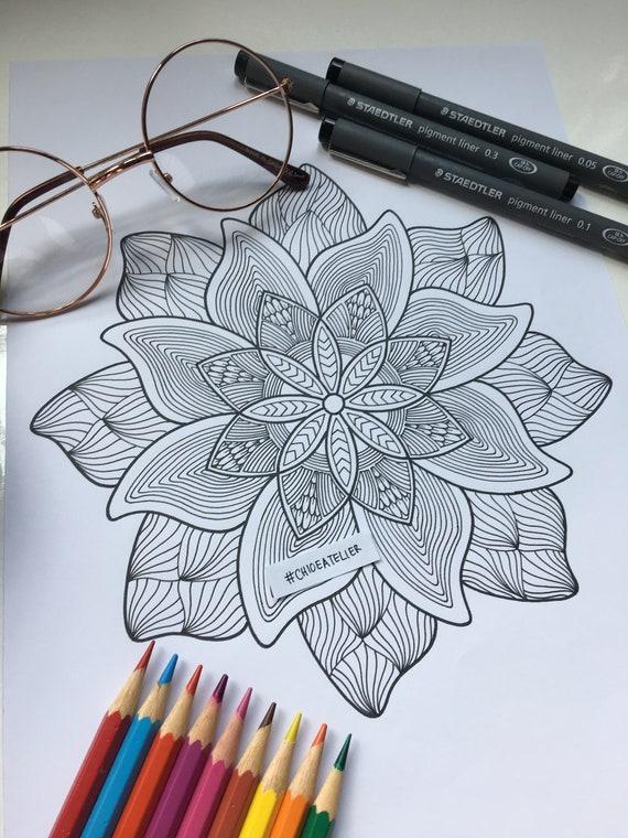 Printable Zentangle Mandala Coloring Page Printable Adult Etsy