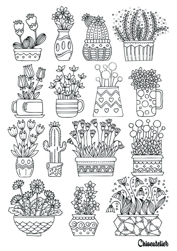 Printable Coloring Page Flowers Printable Adult Coloring Etsy
