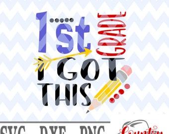 Download Free 1st grade I got this svg first day of school svg, 1st day of school svg, svg file, t shirt mockup, first grade svg, cricut svg, png file PSD Template