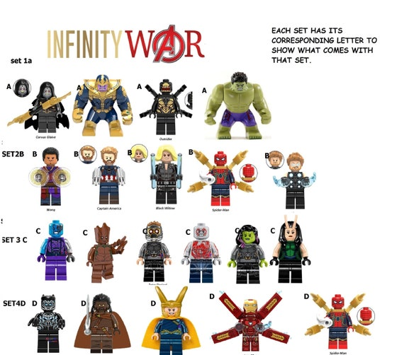 Avengers Infinity Minifigures War Marvel Ironman Spiderman Thanos Ebony Promixa And Dozens More Sale Discount See New Prices