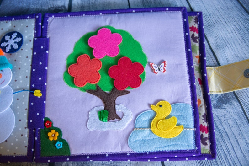 Seasons learning Educational felt book Soft book for children Quiet book Busy book 4 Seasons