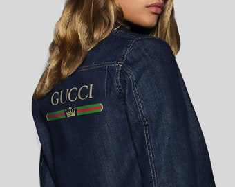 b3a0ee78d Blue Denim Gucci Jacket Gucci Vintage Denim Retro Bomber Gucci Vintage  Clothing Gucci Logo Jacket Oversized Denim Coat Gucci Brand MS0133