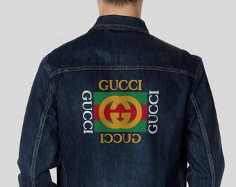 4c56b710e0331 Gucci Logo Mens Vintage Denim Jacket Retro Jacket Retro Oversized Denim  Coat Unisex Denim Jacket Gucci Jean Coat Vintage Blue Denim MS0135