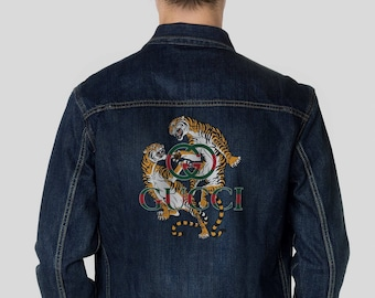 26a1ac60 Gucci Inspired Blue Denim Jacket Men's Outerwear Retro Jacket Jean Coat Gucci  Logo Grunge Style Trucker Jean Retro Gift For Him Gucci MS0161