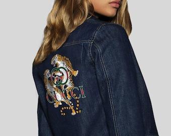 8a6f23560f3 Gucci Champion Jeans Jacket Denim Coat 80s Jacket Gucci Logo Women Denim  Jacket Vintage Clothing Gucci Fashion Coat Women Clothing MS0161
