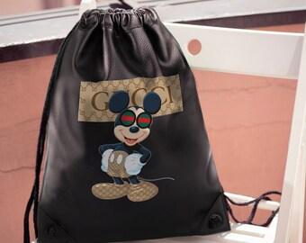 eb1f1c3f1b5537 Gucci Unisex Bag Brand Backpack Mickey Mouse Shoulder Bag Disney Gucci  Handmade Backpack Fashion Crossbody Rucksack Gucci Logo Disney MS0182