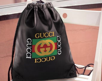 57a623bed86 Gucci Gang Rucksack Vintage Gucci Backpack Black Shoulder Bag Vintage Gucci  Handmade Backpack Fashion Crossbody Gucci Logo Knapsack MS0190