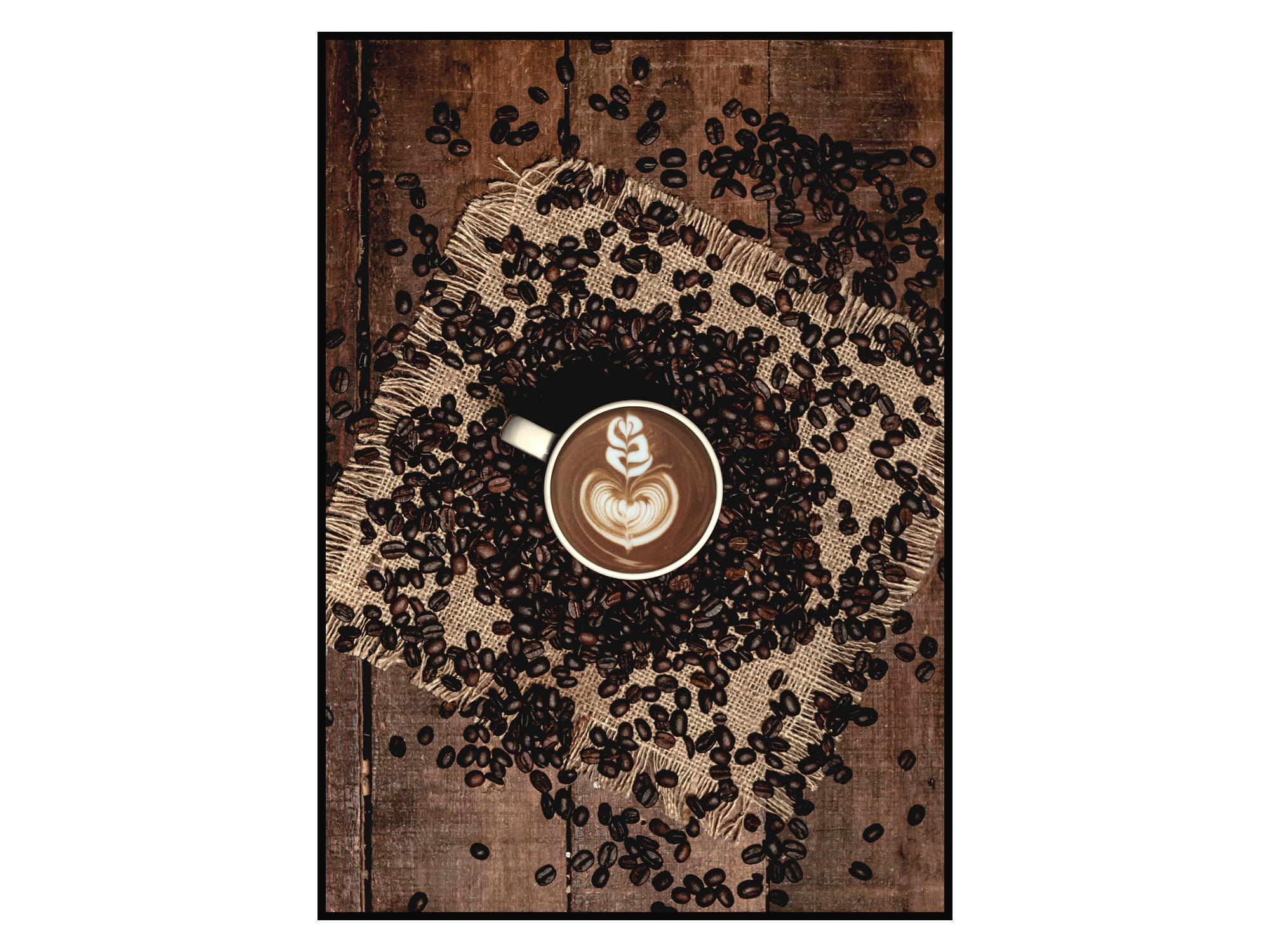 Kaffeebohnen - Gedruckt Poster Poster Jede Druckgröße A4 A5 11x14 30x40 50x70 13x28 70x100 Minimal Walldecor Kaffee