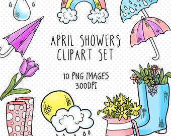 Spring Clipart Set . 10 x PNG Images. Rainy Day, April Shower Clip Art. Bullet Journal or Planner Printable. Pastel Colors. Commercial Use