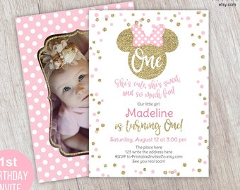 Girl, 1st Birthday, Pink and Gold, Minnie Mouse Invitation, with Photo, Pink, Minnie Invitation, for First Birthday, Printable, Self editing