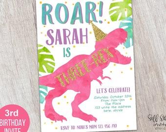 Three Rex Invitation Dinousar 3rd Birthday Party Invites For Girl T Boy Third Instant Download5x7