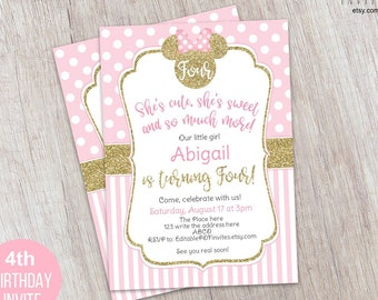 Minnie Mousse Birthday Invitation Pink And Gold 4th Invite Printable First Instant Download Template 5x7