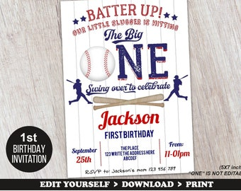 First Birthday Baseball Invitation Party 1st Boy Instant Download Printable PDF Templates