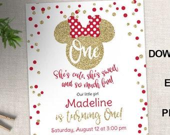 Minnie mouse 1st birthday invitation etsy minnie mouse first birthday invitation red and gold polka dots gold glitter 1st birthday girls invitations editable pdf invites filmwisefo