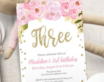 Pink And Gold Flower Birthday Invitation Third Invite Girl Glitter 3rd PDF Template