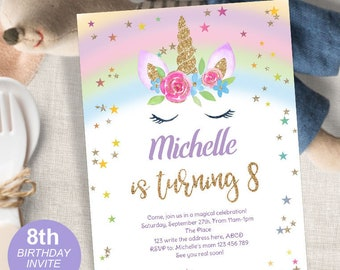 8th BirthdayMagical Unicorn Birthday Invitation Rainbow Party Invite Eighth Girl 5x7 Template