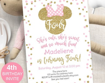 Pink And Gold Minnie Mouse 4th Birthday Party Girl Glitter Invitation Invites 5x7