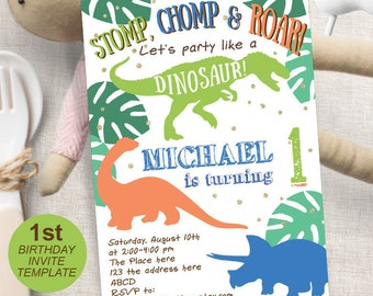Dinosaur Birthday Boy Party 1st Invitation First Invites Printable Instant Download