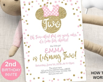 2nd Birthday Minnie Mouse Pink And Gold Invitation For Girl Glitter Second Invite Instant Download 5x7