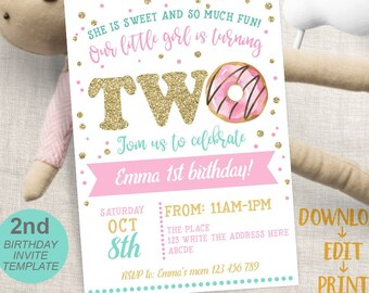 Donut Invitation Second Birthday Party 2nd Invites Sweet Celebration Instant Download Editable Invite Template PDF