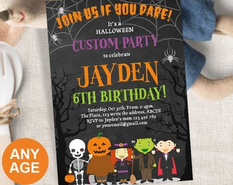 Halloween Birthday Party Invitation Custom Spooktacular For Kids Spooky Celebration Fall 5x7