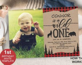 Wild One Lumberjack First Birthday Invitation 1st Invite For Boys Rustic Kraft Plaid Printable PDF Instant Download