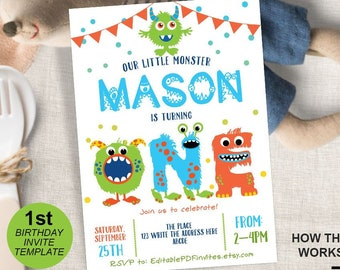 1st birthday invitations boy etsy first birthday monster invitation 1st birthday little monster invite monster party birthday boy printable instant download 5x7 filmwisefo