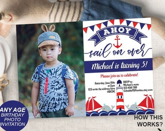 Photo Invitation Nautical Birthday Invite Party Boy Ahoy Sailor InvitePrintable Instant Download 5x7