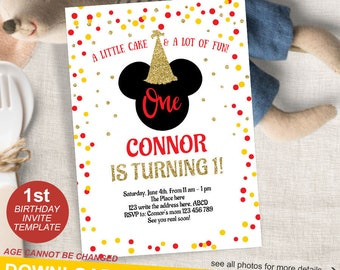Mickey Mouse Birthday Invitation 1st Invite First Boy Instant Download Editable Template5x7