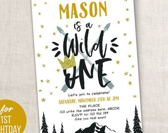 Wild One Adventure Birthday Boy Invitation First Invites For 1st Rustic Printable PDF Instant Download