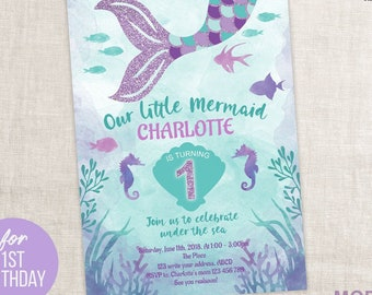 Mermaid Invitation Little First Birthday Instant Download Under The Sea For Girl 5x7
