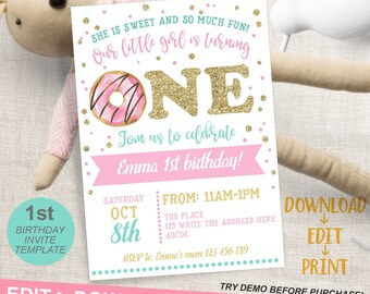 1st birthday invite etsy donut invitation first birthday donut party 1st birthday invites sweet celebration instant download editable invitation template filmwisefo