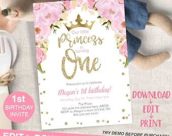 Princess Birthday Invitation First Editable Invite Pink Gold 1st