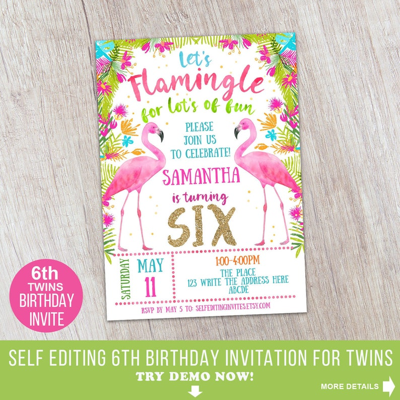 6th Birthday Girl Flamingo Invitation