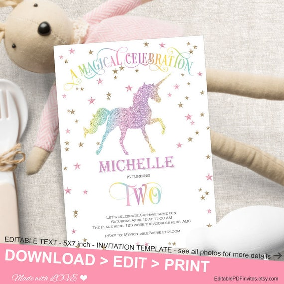 magical unicorn second birthday invitation girl unicorn party