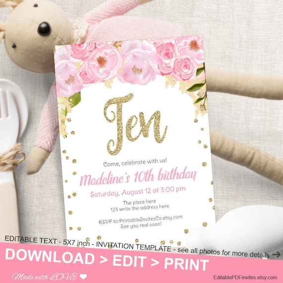 Pink And Gold Flower Birthday Invitation First Birthday Invite Girl Invitation Gold Glitter 10th Birthday Pdf Invitation Template