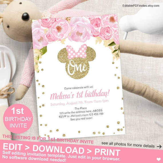 Minnie Mouse First Birthday Invitation Floral Pink Gold Glitter 1st Template MM FPG