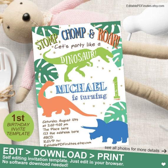 Dinosaur Birthday Boy Party 1st Invitation First Invites Printable Instant Download