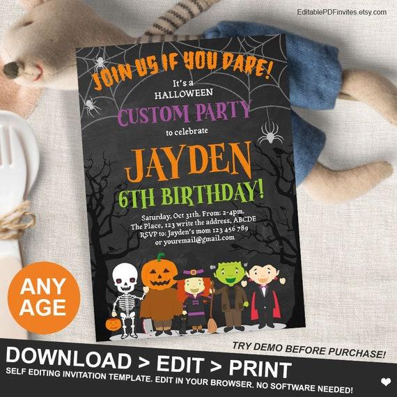 Halloween Birthday Party Invitation Custom Spooktacular For Kids Spooky Celebration Fall 5x7