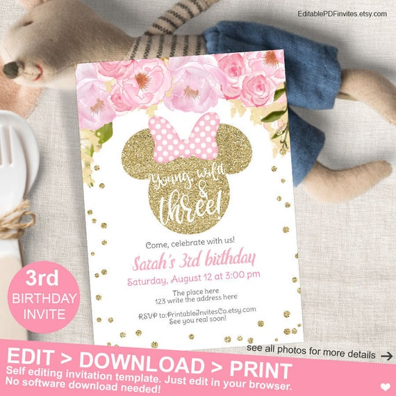 Young Wild And Three Minnie Mouse Invitation Pink Gold Third Birthday Invites For Girls Instant Download PDF Editable
