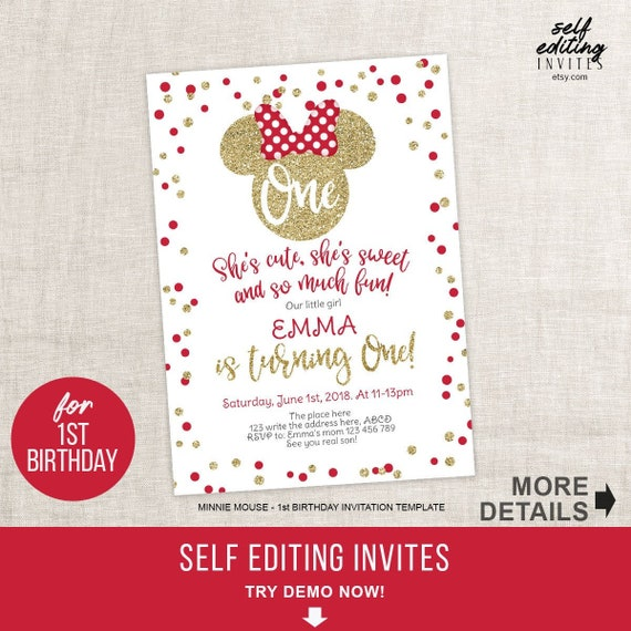 Minnie Mouse First Birthday Invitation Red And Gold Polka Dots Glitter 1st Girls Invitations Editable PDF Invites