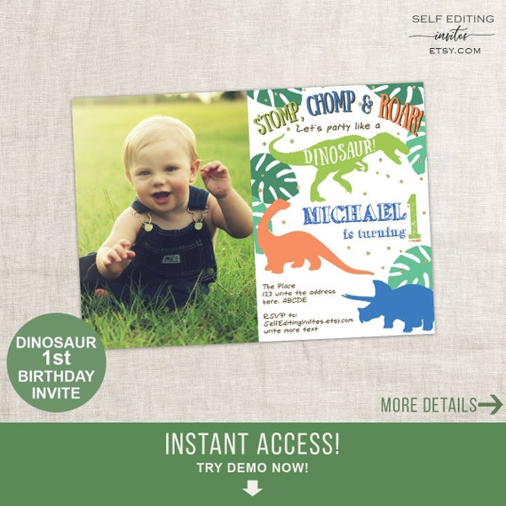 1st Birthday Invitation Dinosaur Party Invites For Boy First Invite Photo Printable 5x7