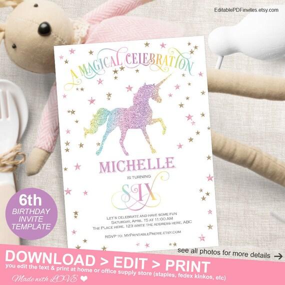 Magical Unicorn 6th Birthday Girl Party Digital